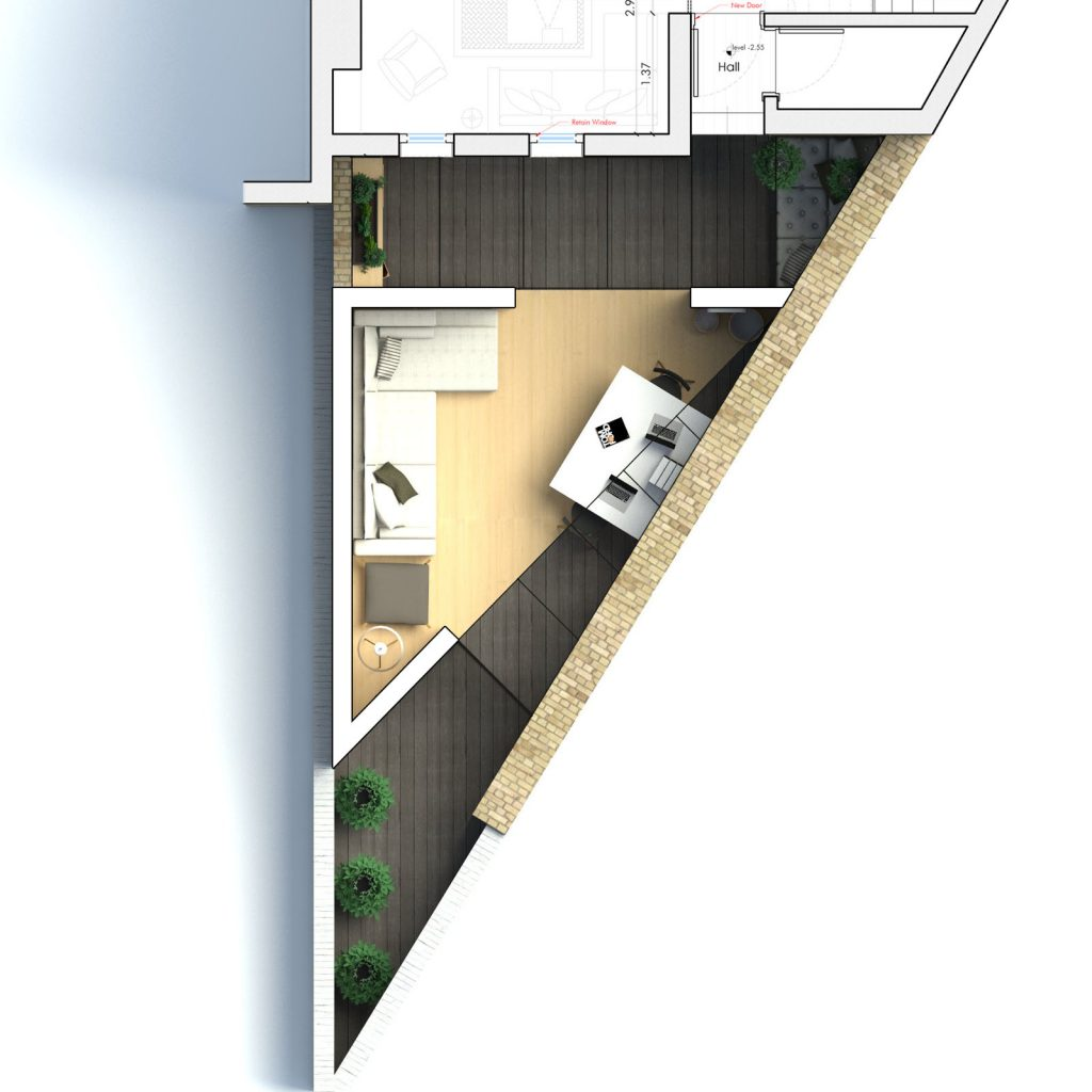 The triangle backyard study extension in for Triangular house floor plans